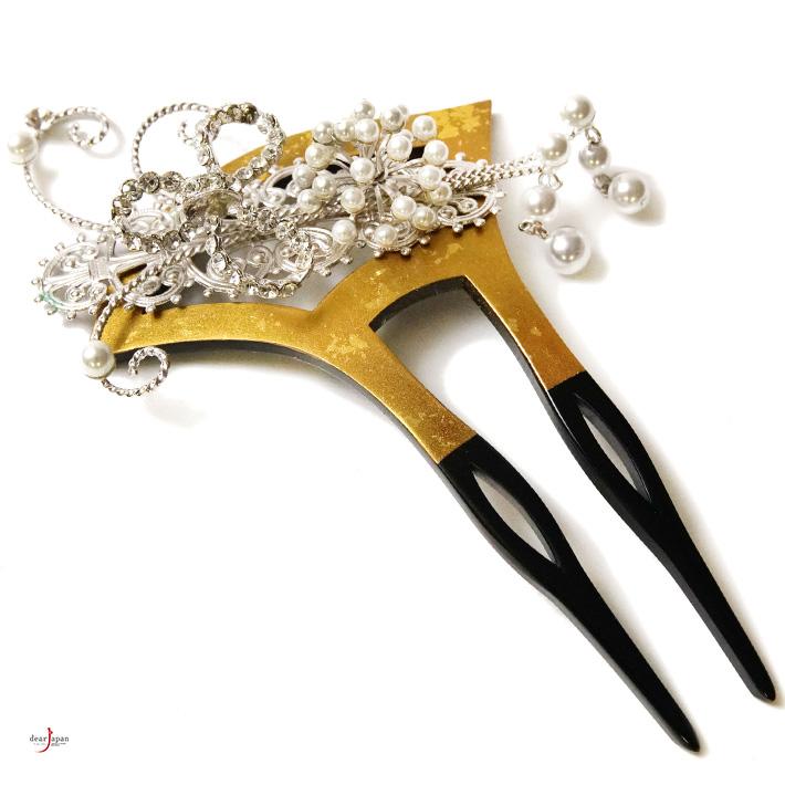 かんざし 礼装用 金 銀 パール ラインストーン バチ型 銀杏型 扇形 式典 訪問着 和装小物 髪飾り フォーマル