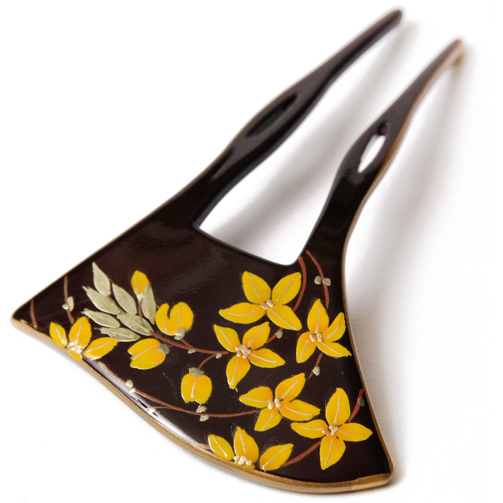 かんざし 花 オレンジ 蒔絵風 溜塗 黒 金 バチ型 フォーマル 髪飾り ヘアアクセサリー 和装 振袖 浴衣