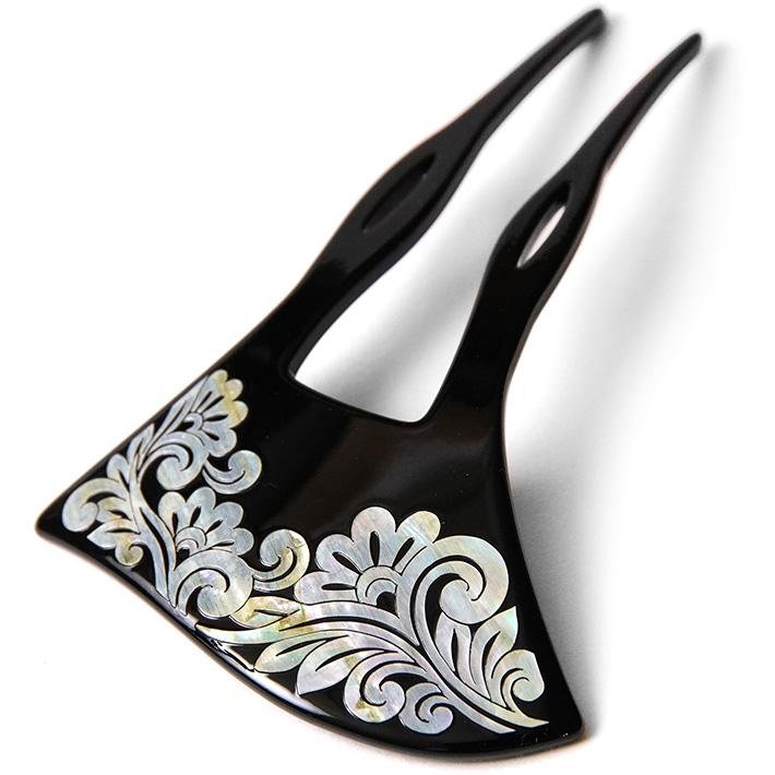 かんざし 螺鈿 唐草 蒔絵風 黒 銀 バチ型 フォーマル 髪飾り ヘアアクセサリー 和装 振袖 浴衣