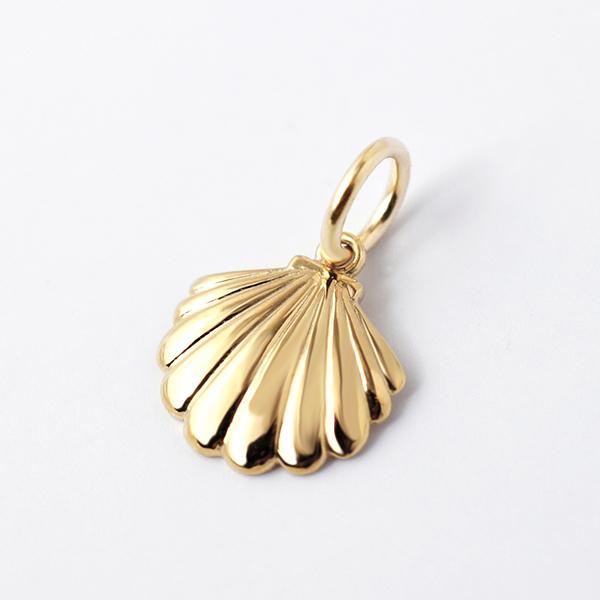 k18 ゴールド ネックレス ペンダントトップ 貝殻 シェルチャーム 18金 お守りジュエリー 重ね付け 華奢 HA-7