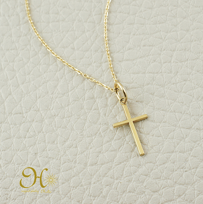 K18 ネックレス クロス 十字架 華奢 重ね付け 小豆チェーン 18金 gold necklace お守りジュエリー ギフト 無料ラッピング