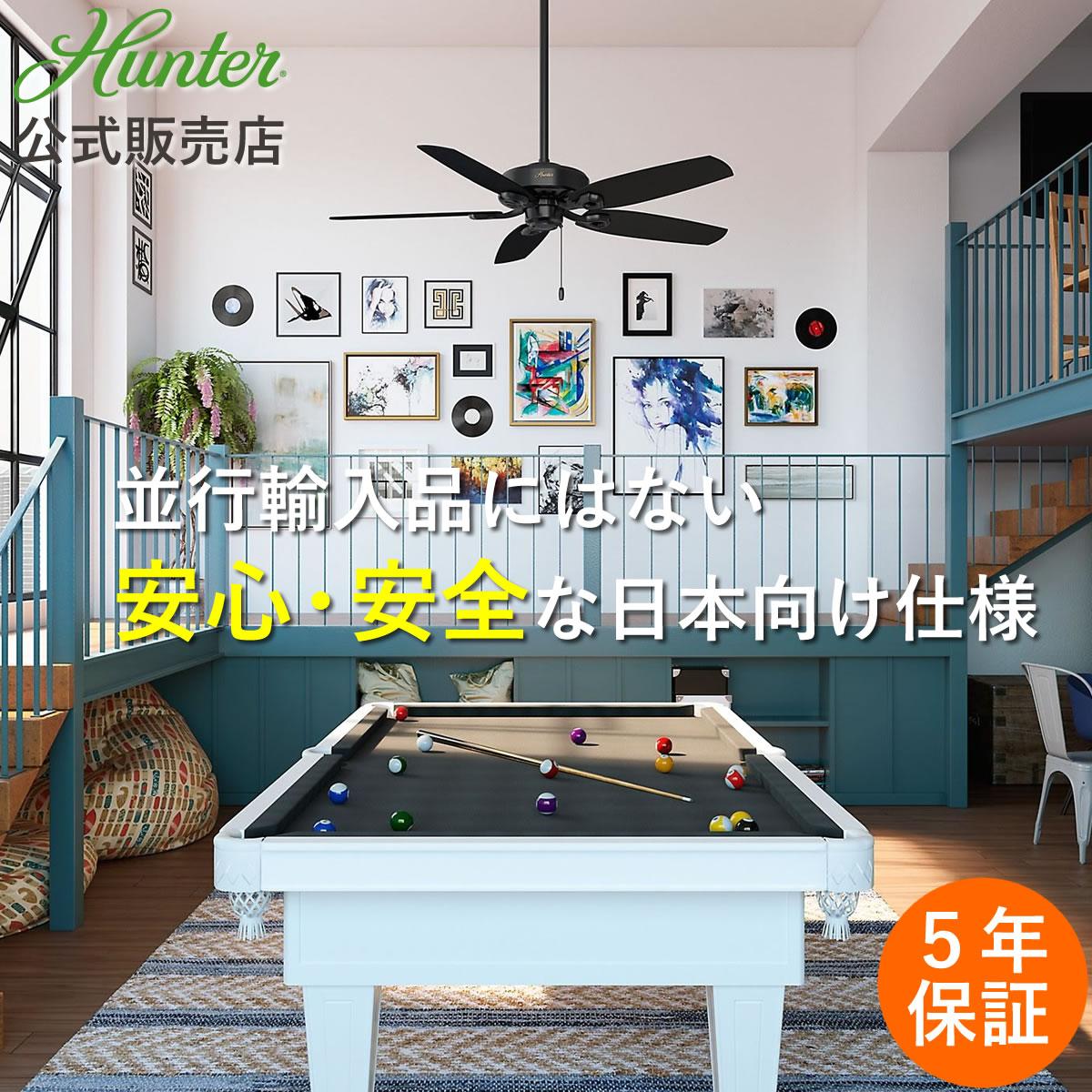 【即納・送料無料】Hunter ハンター シーリングファン ビルダーエリート マットブラック 53243 傾斜天井 オシャレ 吹き抜け