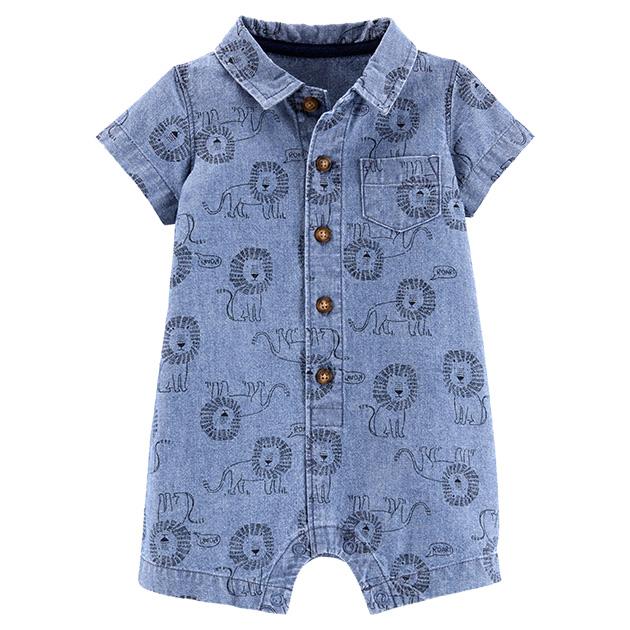 カーターズシャツ風ロンパース・デニムライオン