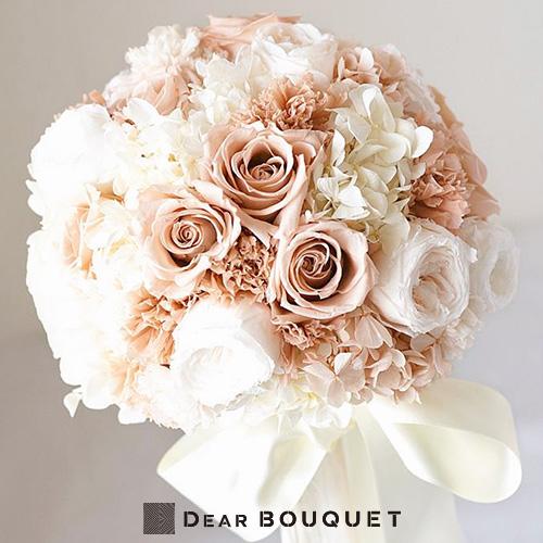 ウェディングブーケ ラウンド型 結婚式 オールドローズ 花束 プリザーブドフラワー ブーケ ブライダル お色直し パーティ