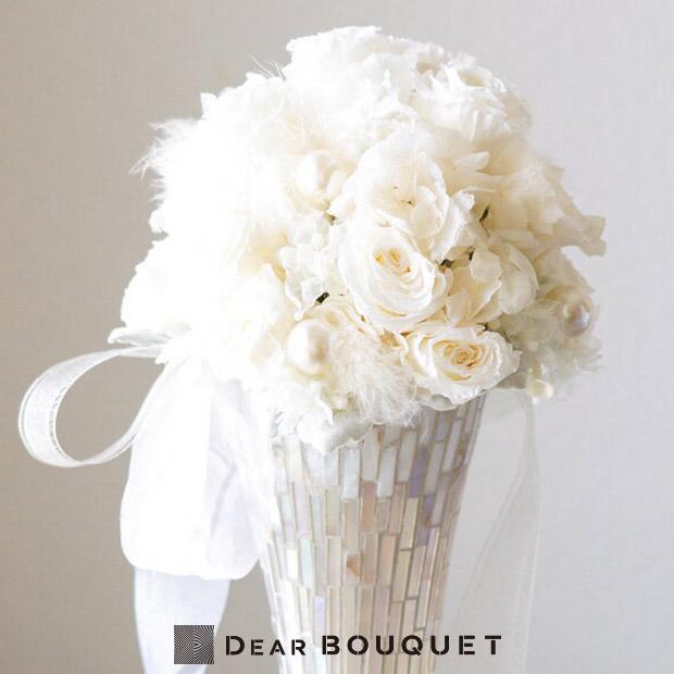ウェディングブーケ ラウンド型 ホワイト プリザーブドフラワー 花束 結婚式 ウェディング ブライダル イベント パーティー おしゃれ