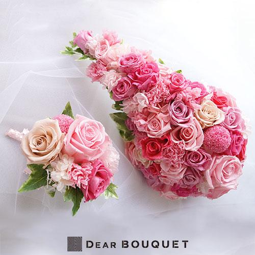 ブーケ 結婚式 ウェディングブーケ キャスケード型 + ブートニア セット プリザーブドフラワー ウェディング ブライダル 挙式 パーティ お色直し 再入場 結婚祝い ウェディングアイテム おしゃれ かわいい 花束 花嫁 新婦 花
