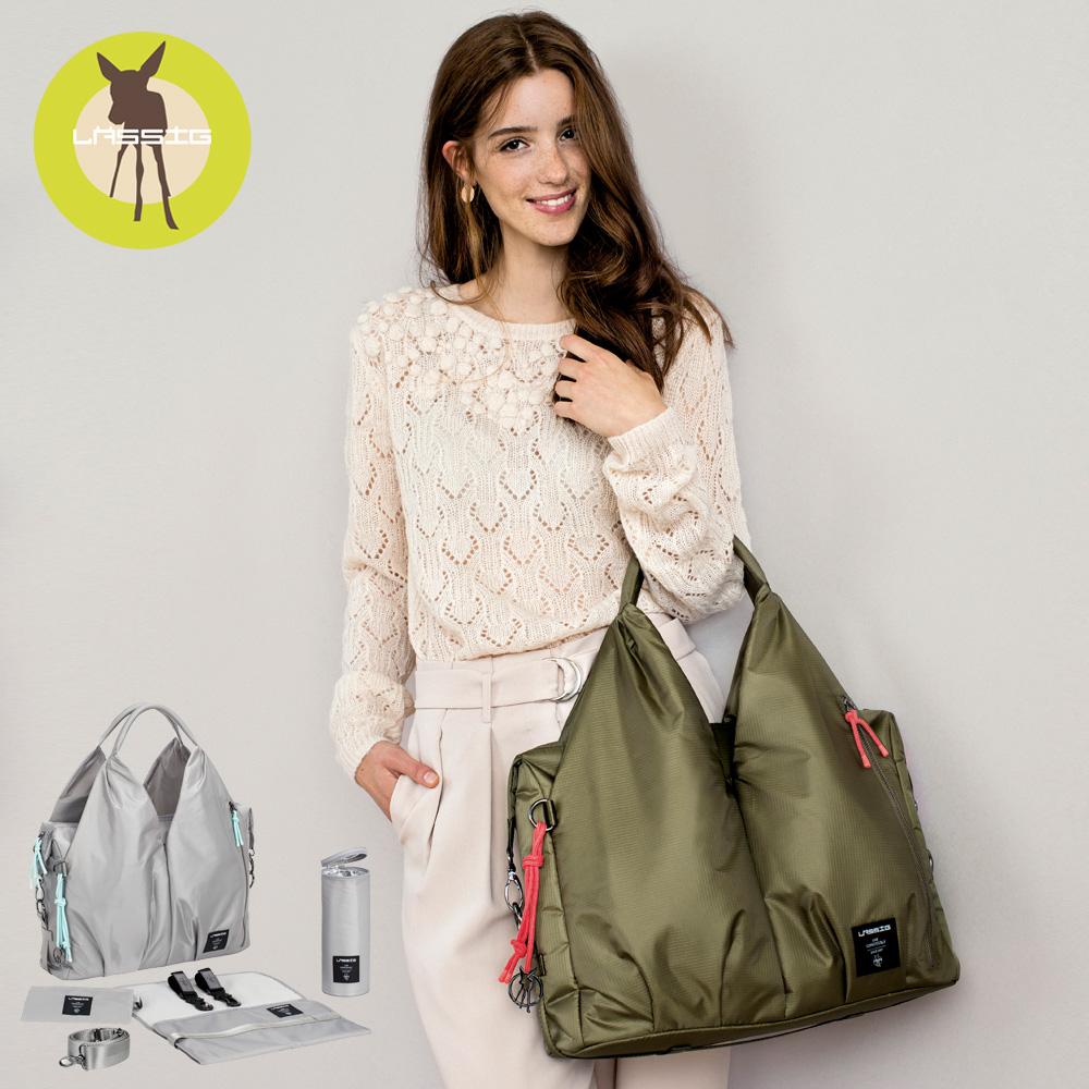 レッシグの2wayマザーズバッグ・グリーン ネックラインバッグ