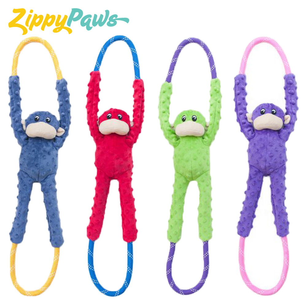 テレビで話題 高級品 カラフルなお猿のロープ☆大型犬も可愛く引っ張りっこ Zippy Paws モンキーロープタグ 全長約71cm ロープ径約1.7cm ジッピーパウズ Monkey 引っ張りっこ ぬいぐるみ 大型犬 犬 RopeTugz ペット ロープ おもちゃ