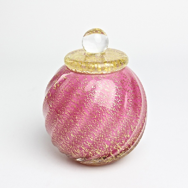 ペット仏具 ミニ骨壷 和み 桃(ピンク) ガラス製 国産 ケース