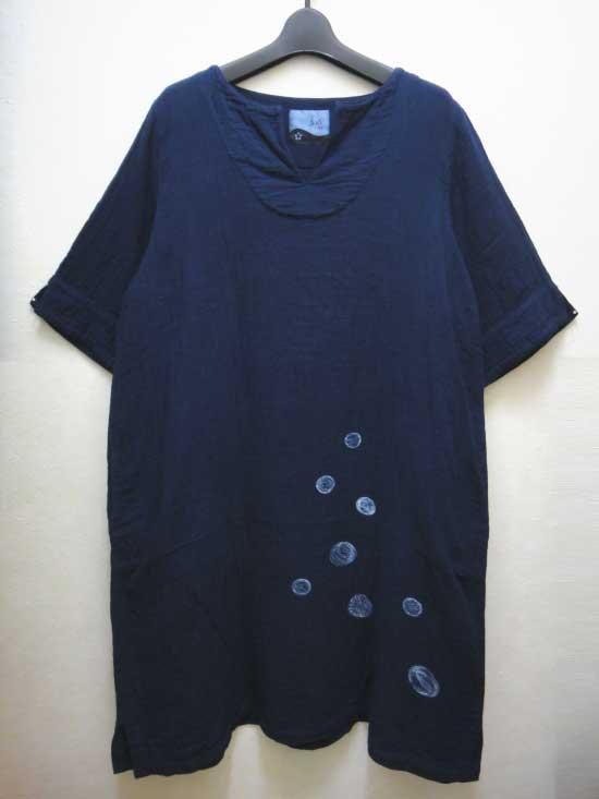 藍染 トリプルガーゼ 定番ワンピース 丸柄 (倉敷の本藍染)「五感gokan」【 ■送料無料■ 】