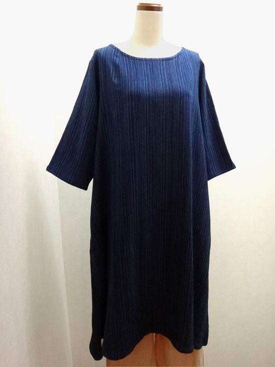 藍糸染 シンプルワンピース(倉敷の本藍染)「五感gokan」【 ■送料無料■ 】