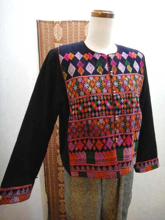 大きいサイズレディース 一点物 ヤオ族手刺繍 ショートジャケット【 ■送料無料■ 】