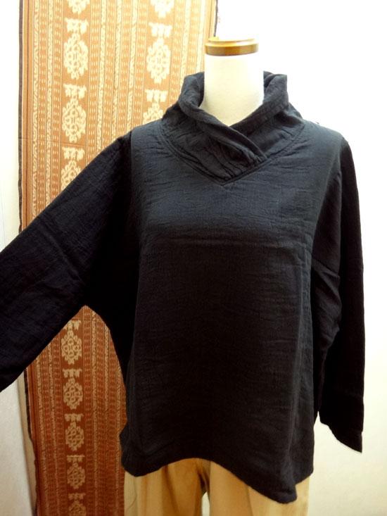 大きいサイズレディース「五感gokan」トリプルガーゼ 幅広長袖プルオーバー 新色ブラック【 ■送料無料■ 】