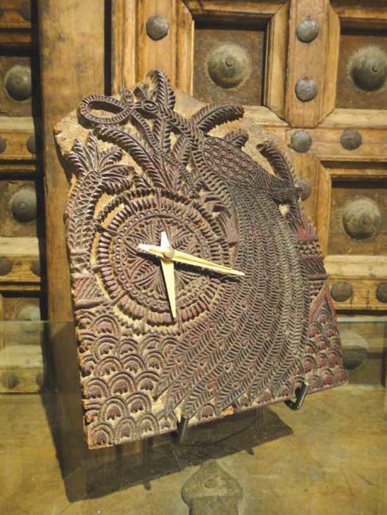 一点物 インド 木版時計 孔雀柄