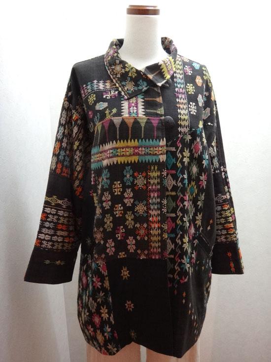 大きいサイズレディース 一点物 インドネシア マンガライ族綾織 デザインジャケット【 ■送料無料■ 】
