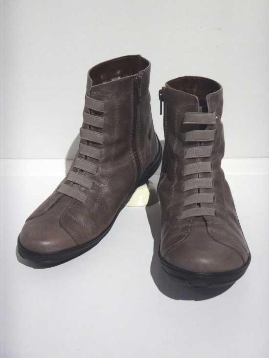 日本製靴「MOVEO(モベオ)」ゴムひもショートブーツ グレー 23.5cm【 ■送料無料■ 】