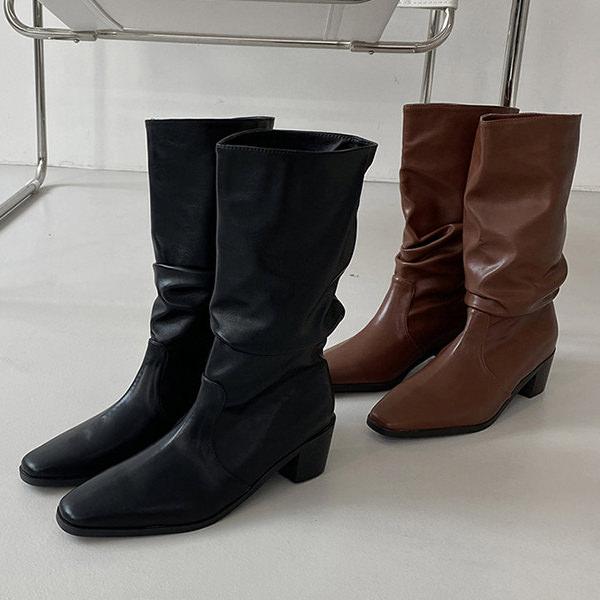 ミドルブーツ ロングブーツ ルーズ スクエアトゥ レディース チャンキーヒール 太ヒール ミドルヒール 韓国 黒 ブラック ブラウン 贈物 茶色 靴 婦人靴 新生活