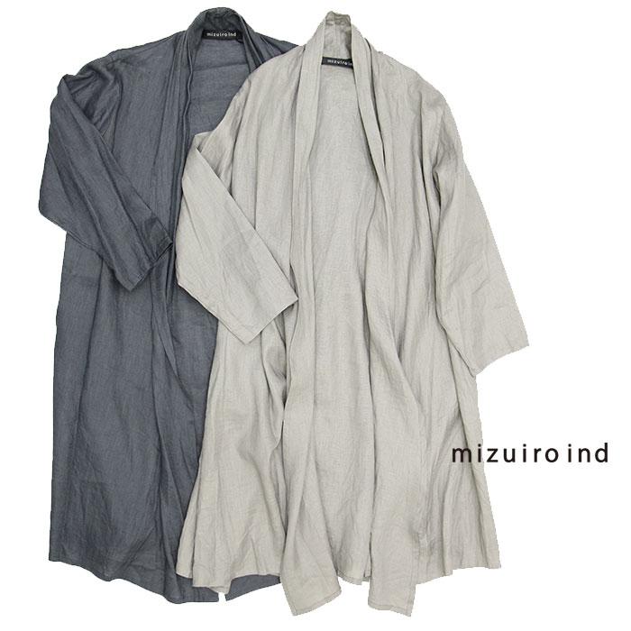 【SALE☆40%OFF】mizuiro-ind ミズイロインド リネンフレアカーディガン 2-238440