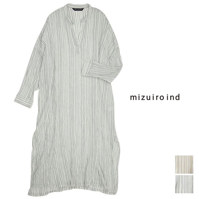 新品 送料無料 mizuiro-ind ミズイロインド 送料無料/新品 ストライプクレープヘンリーネックワンピース 1-259577 4