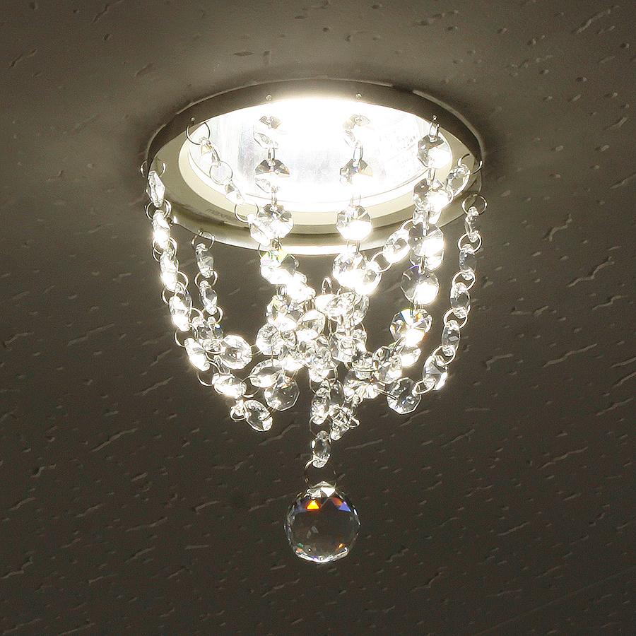 ミニシャンデリア【CHA03-135 ティアドロップ】φ135mm簡単取付《既存ダウンライト取付用》(照明器具別途)本物のガラス・クリスタル使用クリアな輝きをお楽しみください!