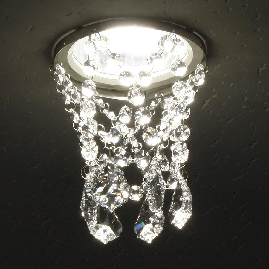 ミニシャンデリア【CHA05-135 ティアラ】φ135mm簡単取付《既存ダウンライト取付用》(照明器具別途)本物のガラス・クリスタル使用クリアな輝きをお楽しみください!