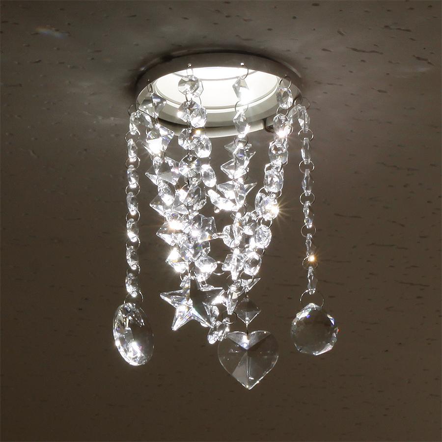 ミニシャンデリア【CHA08-110 キャンディ】φ110mm簡単取付《既存ダウンライト取付用》(照明器具別途)本物のガラス・クリスタル使用クリアな輝きをお楽しみください!