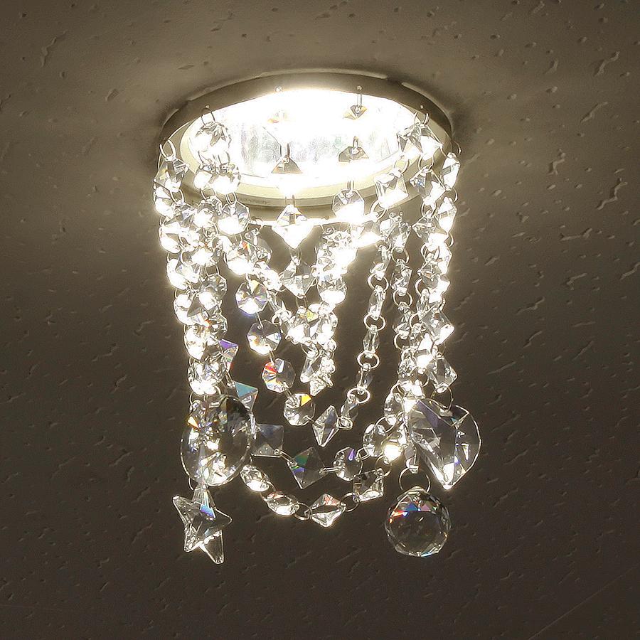 ミニシャンデリア【CHA08-135 キャンディ】φ135mm簡単取付《既存ダウンライト取付用》(照明器具別途)本物のガラス・クリスタル使用クリアな輝きをお楽しみください!