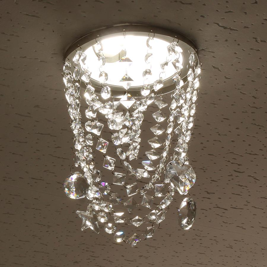 ミニシャンデリア【CHA08-170 キャンディ】φ170mm簡単取付《既存ダウンライト取付用》(照明器具別途)本物のガラス・クリスタル使用クリアな輝きをお楽しみください!