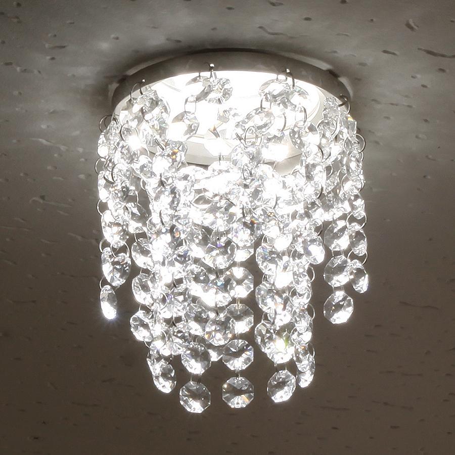 ミニシャンデリア【CHA11-110 キャッスル】φ110mm簡単取付《既存ダウンライト取付用》(照明器具別途)本物のガラス・クリスタル使用クリアな輝きをお楽しみください!