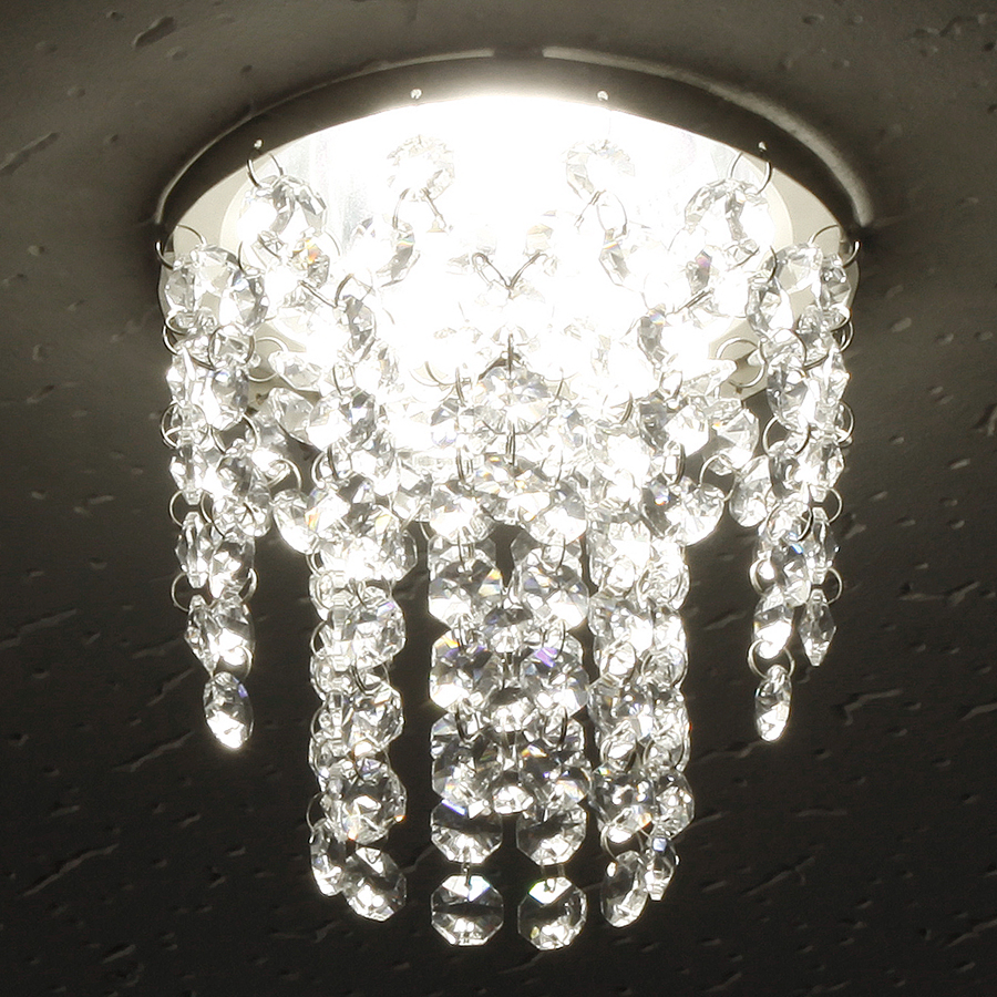 ミニシャンデリア【CHA11-135 キャッスル】φ135mm簡単取付《既存ダウンライト取付用》(照明器具別途)本物のガラス・クリスタル使用クリアな輝きをお楽しみください!
