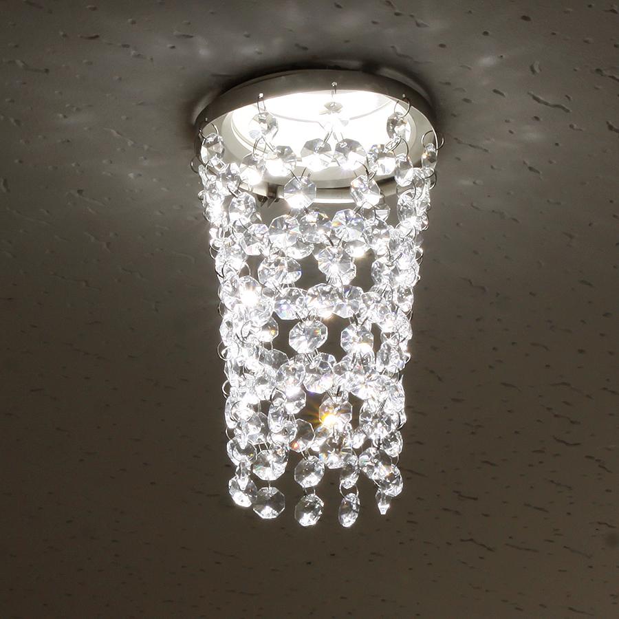 ミニシャンデリア【CHA13-110 タワー】φ110mm簡単取付《既存ダウンライト取付用》(照明器具別途)本物のガラス・クリスタル使用クリアな輝きをお楽しみください!