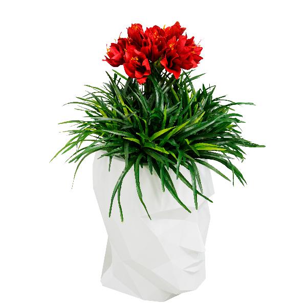 造花 ディスプレイ 大型 大きい 大型造花 モチーフ 人面 頭 頭部 インパクト アーティフィシャルフラワー お祝い 開店祝い プレゼント 【LAU1601アダンS レッドアマリリス】代引不可 ホテル、病院のロビーや喫煙所に