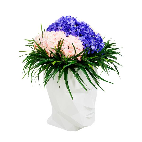 造花 ディスプレイ 大型 大きい 大型造花 モチーフ 人面 頭 頭部 インパクト アーティフィシャルフラワー お祝い 開店祝い プレゼント 【LAU1604 アダンS アジサイ】代引不可 ホテル、病院のロビーや喫煙所に