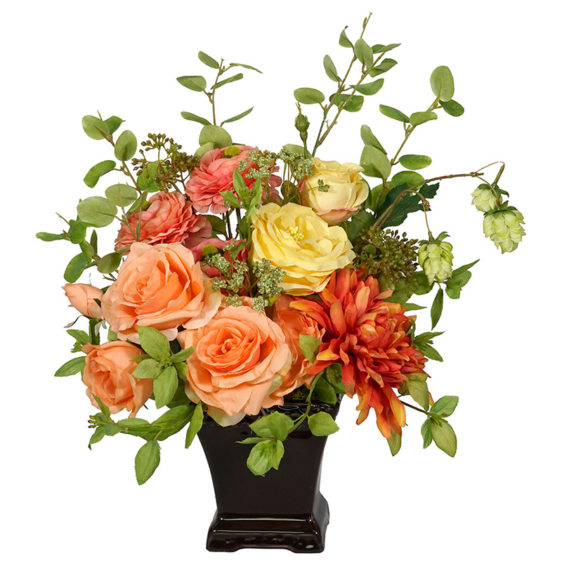 現品限り【RK008 ルイBRオレンジアレンジ】フェイクフラワー 造花 卓上 テーブル リアルな造花 アーティフィシャルフラワー アートフラワー アレンジメント プレゼント 贈り物 ギフト インテリアフラワー 水やり不要 ラナンキュラス 送料無料