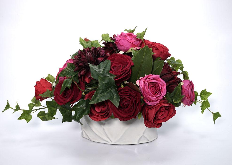 現品限り【RK034 テーブルアレンジ-ローズ】フェイクフラワー 造花 卓上 テーブル リアルな造花 アーティフィシャルフラワー アートフラワー アレンジメント プレゼント 贈り物 ギフト インテリアフラワー 水やり不要 ばら バラ 薔薇 ローズ 送料無料