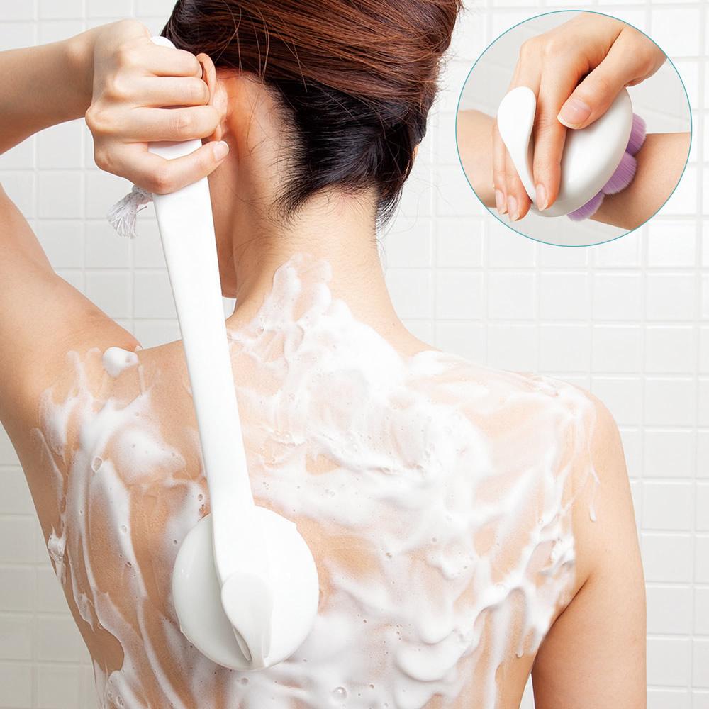 【代引き・同梱不可】2通り使える極細毛のボディブラシスポンジ 背中ブラシ 洗う