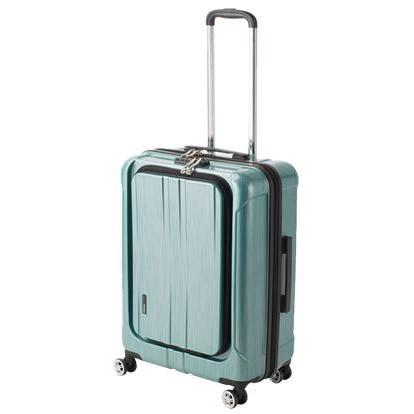 【代引き・同梱不可】協和 ACTUS(アクタス) スーツケース フロントオープン ポライト Lサイズ ACT-005 グリーンヘアライン・74-20357