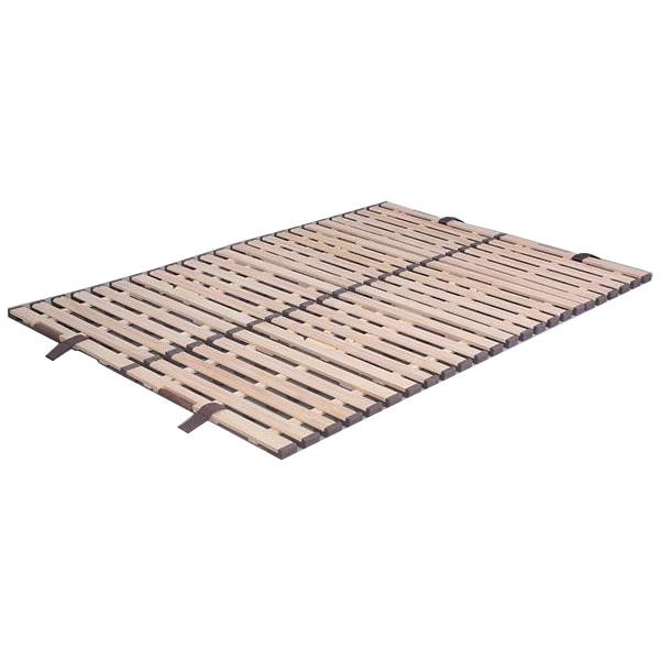 【代引き・同梱不可】立ち上げ簡単! 軽量桐すのこベッド 4つ折れ式 ダブル KKF-410