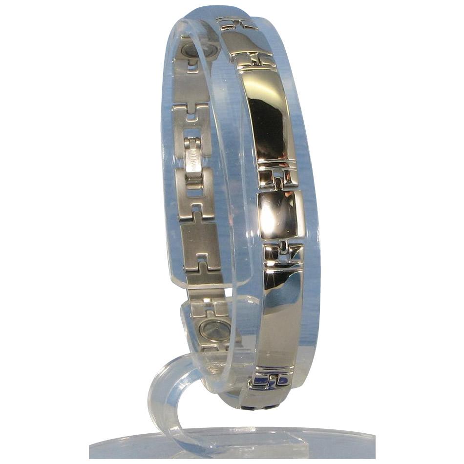 【代引き・同梱不可】MARE(マーレ) ゲルマニウム5個付ブレスレット PT/IP ミラー 117G M (18.7cm) H9259-06M