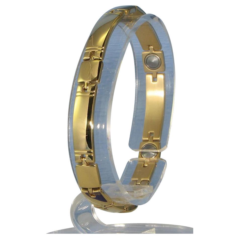 【代引き・同梱不可】MARE(マーレ) ゲルマニウム5個付ブレスレット GOLD/IP ミラー 119G M (18.7cm) H9259-07M