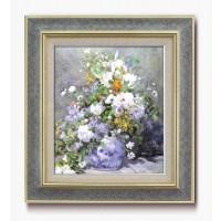 【代引き・同梱不可】名画額F10号 ルノワール「花瓶の花」 17921