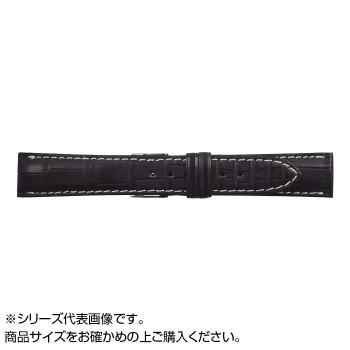 【代引き・同梱不可】MIMOSA(ミモザ) 時計バンド クロコマット 18mm ブラック/ホワイトステッチ (美錠:銀) WRM-AW18