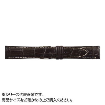 【代引き・同梱不可】MIMOSA(ミモザ) 時計バンド クロコマット 18mm ブラウン/ホワイトステッチ (美錠:銀) WRM-BW18