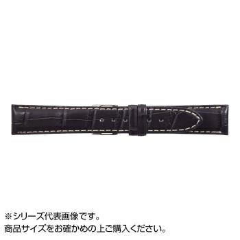 【代引き・同梱不可】MIMOSA(ミモザ) 時計バンド クロコマット 18mm ネイビー/ホワイトステッチ (美錠:銀) WRM-NW18