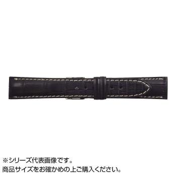 【代引き・同梱不可】MIMOSA(ミモザ) 時計バンド クロコマット 19mm ブラック/ホワイトステッチ (美錠:銀) WRM-AW19
