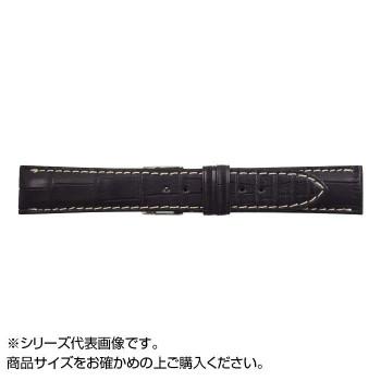 【代引き・同梱不可】MIMOSA(ミモザ) 時計バンド クロコマット 20cm ブラック/ホワイトステッチ (美錠:銀) WRM-AW20