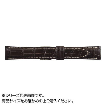 【代引き・同梱不可】MIMOSA(ミモザ) 時計バンド クロコマット 20cm ブラウン/ホワイトステッチ (美錠:銀) WRM-BW20