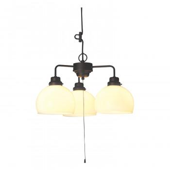 【代引き・同梱不可】ペンダントライト 鉄鉢硝子セード・3灯用CP型BK (60Wホワイトシリカ球付) GLF-3257