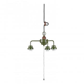 【代引き・同梱不可】3灯用ビス止めCP型吊具・木製飾り付 緑塗装 GLF-0281GR