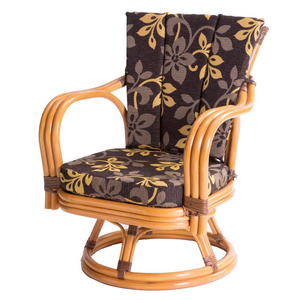 【代引き・同梱不可】ラタン 回転椅子 ミドルタイプ 座面高さ30cm GNM17M